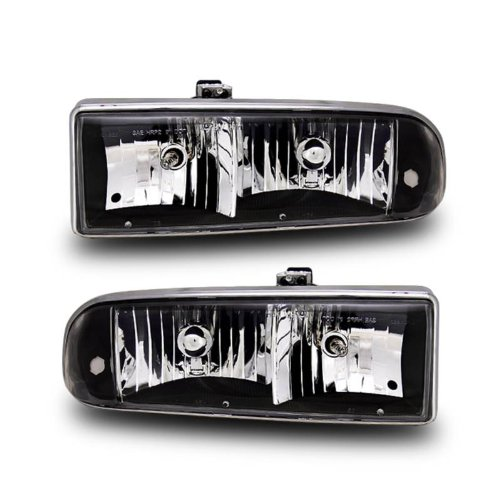 SPPC Crystal Headlights Black For Chevy S10 / Blazer- (Chevy S10 Crystal Headlights)