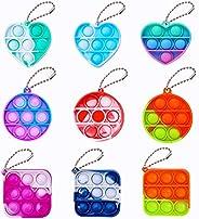 9 Pcs Simple Fidget Toy Mini Pop Fidget Toy Stress Relief Hand Toys Keychain Toy Bubble Wrap Pop Anxiety Stres