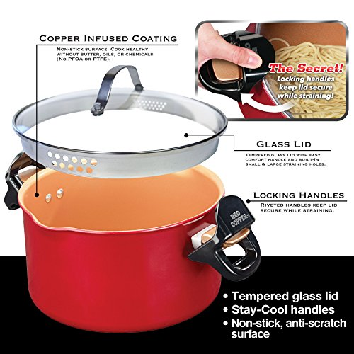 Red Copper Better Pasta Pot By Bulbhead Locking Handles