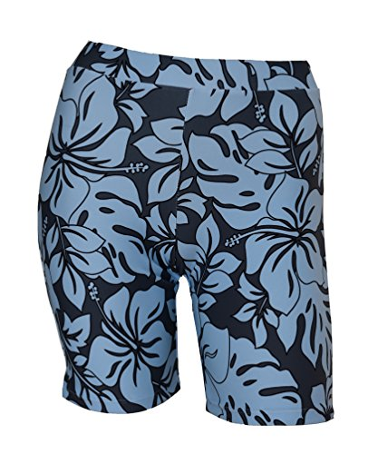 Private Island Hawaii UV Women Rash Guard Skinny Shorts Pants (X-Large, Grey with Blue)