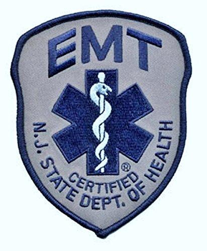 Navy Patches Shoulder - New Jersey State Dept. of Health EMT Certified - Shoulder Patch, Navy/Grey, 4x5
