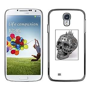 Samsung Galaxy S4 , JackGot - Impreso colorido protector duro espalda Funda piel de Shell (Cráneo del punk rock Blanco Negro Cartel)