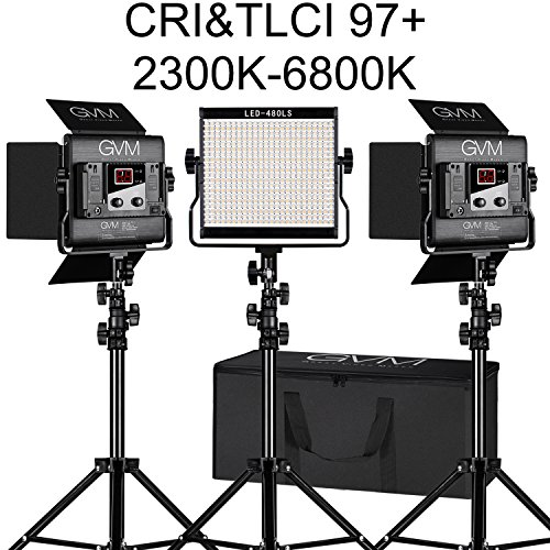- LED Video Light Kit GVM Dimmable Bi-color Variable 2300K~6800K With Digital Display For Studio. CRI97+ TLCI97 + & Brightness of 10~100% Metal Housing for Video Photography Lighting 29W 3 Kit