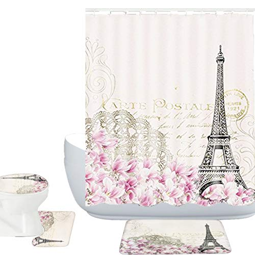 Amagical Paris Decor Collection Eiffel Tower with Pink Flowers Vintage Soft Color Art Print 16 Piece Bathroom Mat Set Shower Curtain Set Bath Mat Contour Mat Toilet Cover Fabric Shower Curtian 12 Hook