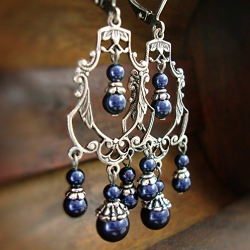 Midnight Blue Victorian Chandelier Earrings with Swarovski Crystal Simulated Pearls ()