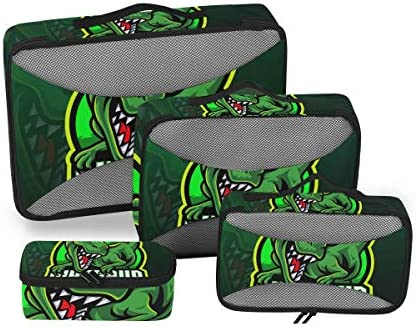 グリーンスポーツ恐竜アート荷物パッキングキューブオーガナイザートイレタリーランドリーストレージバッグポーチパックキューブ4さまざまなサイズセットトラベルキッズレディース