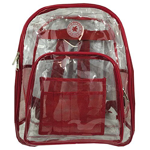 K-Cliffs Heavy Duty Clear Backpack See Through Daypack Student Transparent Bookbag Red By Praise Start