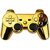 XFUNY Chrome Finished Replacement Shell Case Cover Housing Kits with Buttons for Sony PlayStation 3 PS3 Controller (Gold)