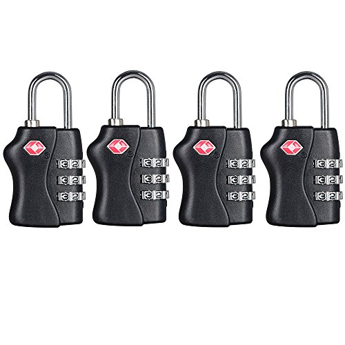 TSA Security Combination Lock Suitcase Luggage Bag Code Lock Padlock (Black-4 Pack) by zhovee