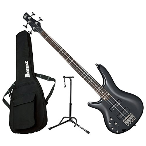 Ibanez SR300EL IPT LEFT HANDED 4 String Iron Pewter Electric Bass Guitar with Gig Bag and Stand ()