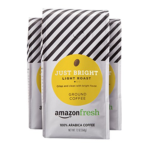 AmazonFresh Just Bright, 100% Arabica Coffee, Light Roast, Ground, 12 Ounce, Pack of 3