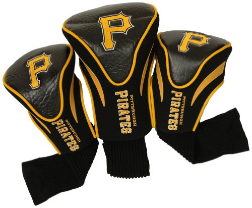 (Team Golf MLB Pittsburgh Pirates Contour Golf Club Headcovers (3 Count), Numbered 1, 3, & X, Fits Oversized Drivers, Utility, Rescue & Fairway Clubs, Velour lined for Extra Club Protection)