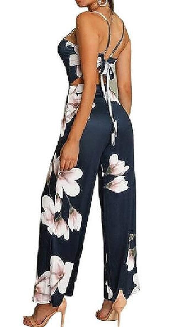 pipigo Womens Beach Spaghetti Strap Summer Bohemian Floral Print Jumpsuit Romper Dark Blue XS