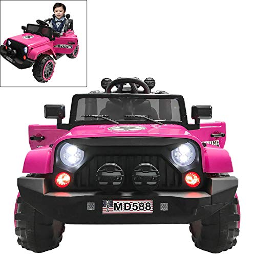 Electric Ride On Car for Kids with Facelift Grille, 12V 2 Motors, 2.4G Remote Control, Spring Suspension, LED Light & MP3 Socket, Openable Door, Parental Pull Handle - Pink -