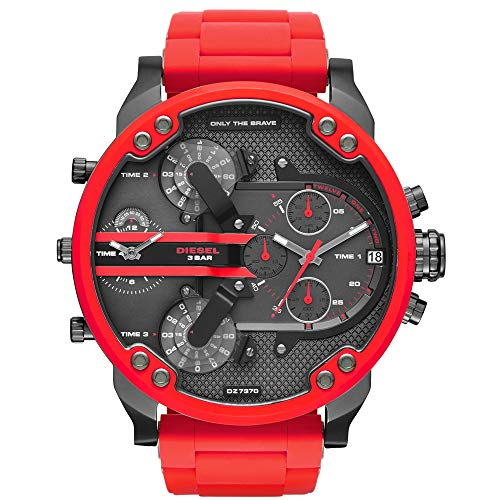 - Diesel Mens Mr. Daddy 2.0 Multi-movement Red Silicone Wrapped Stainless Steel Watch DZ7370