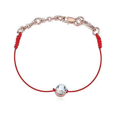 Le bracelet rouge de la Kabbale 18 carats plaqué or rose avec cristaux  blancs de Swarovski 47a348de70a1