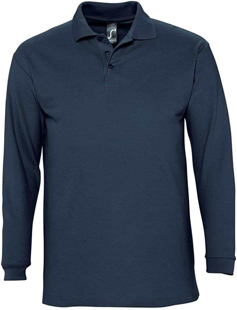 SOLS - Polo de manga larga liso para caballero/hombre 100% algodón ...