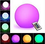 WIOR LED Decorative Ball, 5.9'' Waterproof Rechargeable Mood Lamp, Color Changing Cordless Night Lights (Remote Control+RGB Color Changing+USB Cable+DC 5V Adapter+User Manual) Outdoor&Indoor Use
