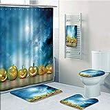 Bathroom Fashion 5 Piece Set shower curtain 3d print,Halloween,Spooky Halloween Pumpkins on Wood Table Dramatic Night Sky Print Decorative,Dark Blue Light Blue Yellow,Bath Mat,Bathroom Carpet Rug,Non-
