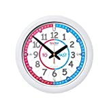 EasyRead Time Teacher Children's Red Blue Wall Clock, Past & to Format with Silent Movement. Learn to Tell The time in 3 Simple Steps, for Children Age 5+