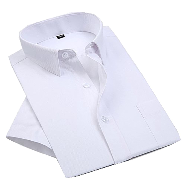 Veiai Men'S Short Sleeve Shirt Casual Business Formal Shirts