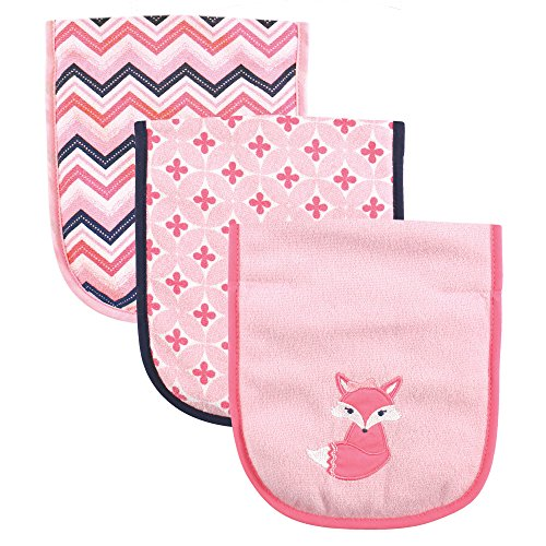 Luvable Friends 3 Piece Burp Cloth with Fiber Filling, Foxy