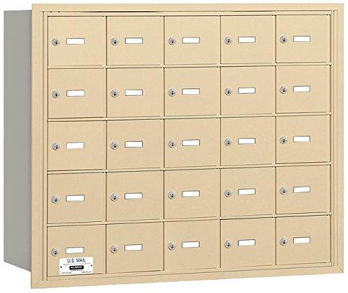 Salsbury Industries 3625SRU 4B Plus Horizontal Mailbox, 25 A Doors, Rear Loading, USPS Access, Sandstone