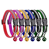 HITTIME 6PCS Reflective Cat Collars with Bell, Adjustable Quick Release Safety Buckle, Breakaway Pet Collar
