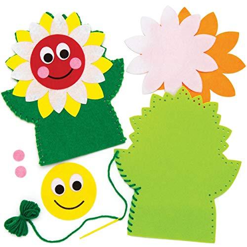 (Baker Ross Sunflower Hand Puppet Sewing Kits (Pack of 3))