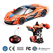 Pano Transformation Car Remote Controller Car Toy for Kids, 1: 20 Scale Boy Gift RC Car Transform Toys One Button Deformation Into Robot Car Toys Packaged 2 pcs Batteries