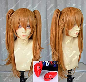 Anime EVA Asuka Langley Soryu Long Orange With 2 Ponytail Clips Heat Resistant Hair Cosplay Costume Wig + Headwear Haripin Wig And Headwear