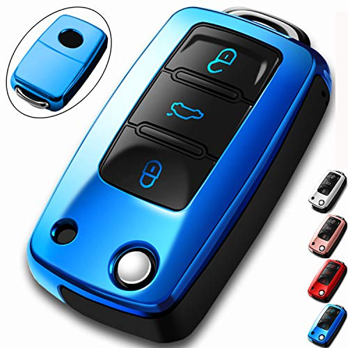 COMPONALL for VW Key Fob Cover,Compatible for VW Beetle Passat Tiguan Touran Jetta MK1-MK6 Golf GTI/Rabbit/R/MK6/MK5 Premium Soft TPU Full Protection 3-Buttons Key Fob Shell, Blue