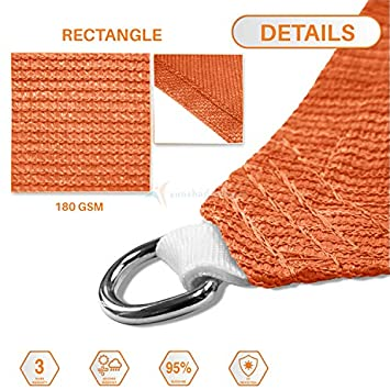 Sunshades Depot 12 x 16 Orange Sun Shade Sail, Rectangle Permeable Canopy Customize Commercial Standard 180 GSM HDPE