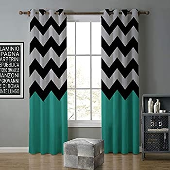 Image of alilihome Blackout Curtain Room Darkening 120 by 108 Inch Simple Black Green Ripple 9 Home and Kitchen