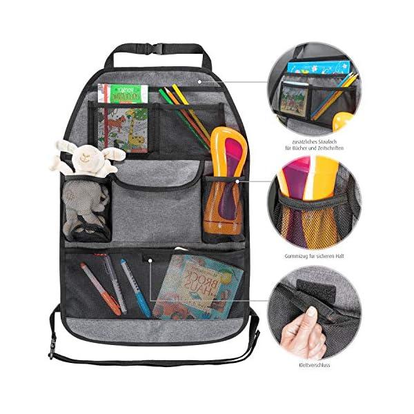 51NBTpMPNXL reer Autorücksitz-Organizer TravelKid Tidy, schmutzabweisend, viele Taschen, für alle Autositze, auch Sportsitze, grau