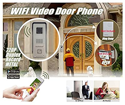 SmaInHand 720P HD Metal Outdoor WiFi Doorbell Video Door Phone with 8GB SD Card Inside, Full Duplex 2 Way Audio Same Time, 3 Walls WiFi Distance, Connect to Doorchime