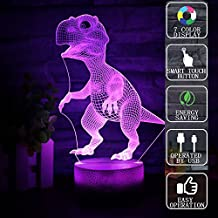 Gift Ideas Dinosaurs Night Lights 3D Illusion lamp Animal Light Led Desk Lamps Unique Anniversary Gifts for Baby Home Decor Office Bedroom Party Decorations Nursery Lighting 7 Color (dinosaurs)