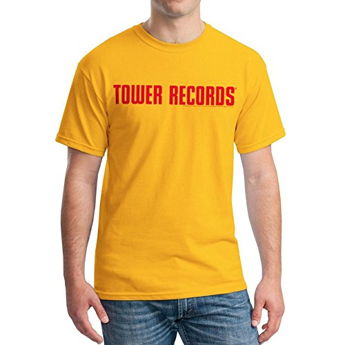Tower Records Men's Tower Records Horizontal Graphic T-Shirt, Gold, Large