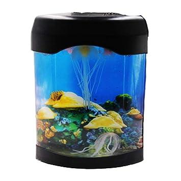 LSHUAIDJ Acuario Acuario Peces pequeños acrílico Color Medusas lámpara Mini Escritorio Peces Ornamentales Medusas batería Acuario