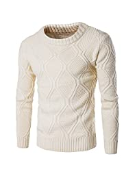 WSLCN Mens Crew Neck Coton Sweater Cable Thick Knitting Jumper Pullover Winter