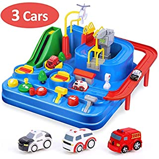 CubicFun Race Tracks for Boys Car Adventure Toys for 3 4 5 6 7 8 Year Old Boys Girls, City Rescue Preschool Educational Toy Vehicle Puzzle Car Track Playsets for Toddlers, Kids Toys Age 3+