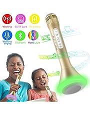 Micr¨®fono Inal¨¢mbrico Port¨¢til Bluetooth Altavoz Incorporado para Karaoke Bater¨ªa de Compatible con PC/iPad/iPhone/Smartphone