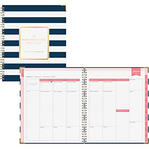 "Day Designer for Blue Sky 2018 Weekly & Monthly Planner, Hardcover, Twin-Wire Binding, 8"" x 10"", Navy Stripe -  Blue Sky the Color of Imagination, LLC, 103625"
