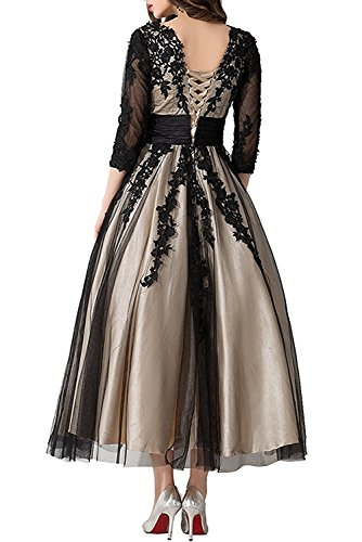AbaoWedding Women's Lace Applique Tea-length Mother of Bride Dresses Prom Gowns