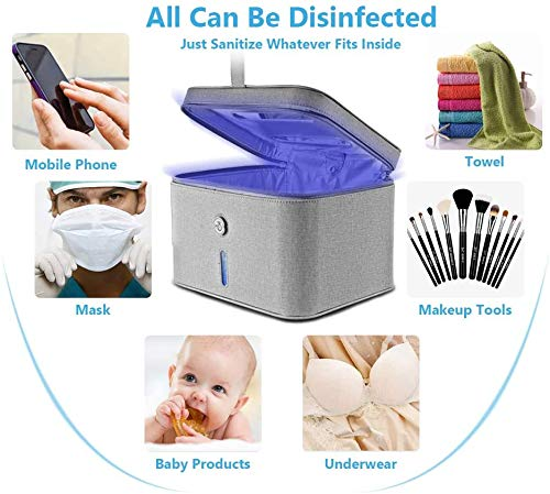 LED UV Sanitizer Bag, Portable USB Sterilizer and Cleaner for Cell Phone, Kids Toy, Gadgets, Cleaned within 3 Mins,KISTAR
