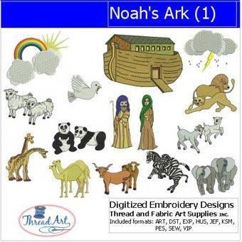 Embroidery Design Machine Noahs Ark - Threadart Machine Embroidery Designs - Noah's Ark(1) - USB Stick