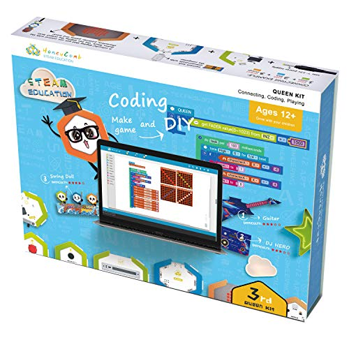 HoneyComb Queen Kit Electronic Building Blocks | A Creative and Educational STEM Coding Toy | Teaches Programming Skills Through Material Object Fun Game | DIY Building Blocks (Programmable Version)