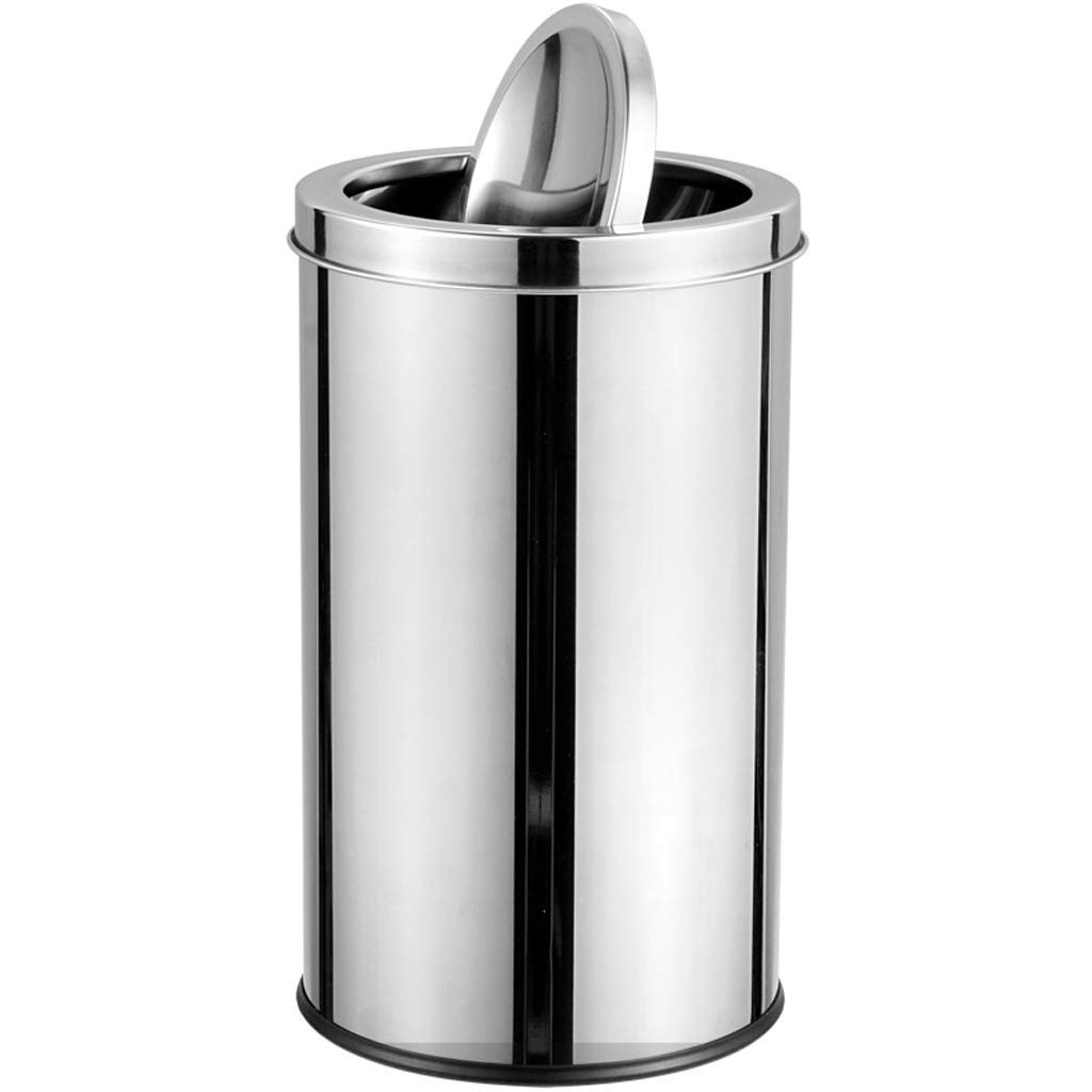 Stainless Steel Rocking Trash Home Hotel Living Room Office Building Round Trash Can (Color : 1#)