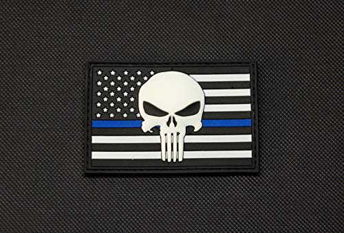 - BritKitUSA USA Punisher Police Thin Blue Line Flag 3D PVC Glow Patch SWAT Gang Team Hook