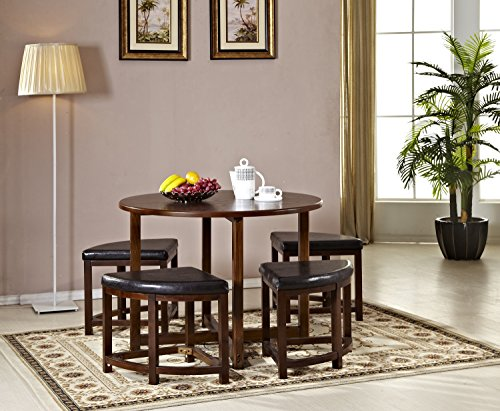 Mixcept 5 Pieces Table and Stool Set Space Saver Dining Table with 4 Chairs ,Walnut (Height Space Saver)